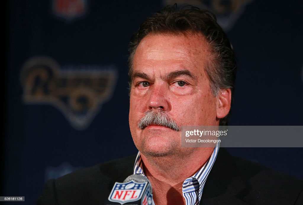 Head Coach <a gi-track='captionPersonalityLinkClicked' href=/galleries/search?phrase=Jeff+Fisher+-+American+Football+Coach&family=editorial&specificpeople=12805555 ng-click='$event.stopPropagation()'>Jeff Fisher</a> of the Los Angeles Rams looks on from the podium during the press conference to introduce Jared Goff, the Los Angeles Rams' first pick and first overall pick of the 2016 NFL Draft, on April 29, 2016 in Los Angeles, California.