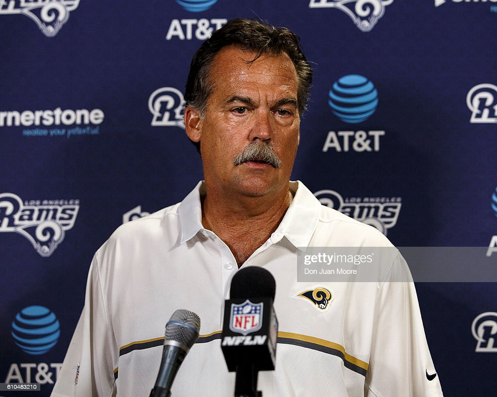 Head Coach Jeff Fisher of the Los Angeles Rams talk with the media after the game against the Tampa Bay Buccaneers at Raymond James Stadium on September 25, 2016 in Tampa, Florida. The Rams defeated the Buccaneers 37 to 32.