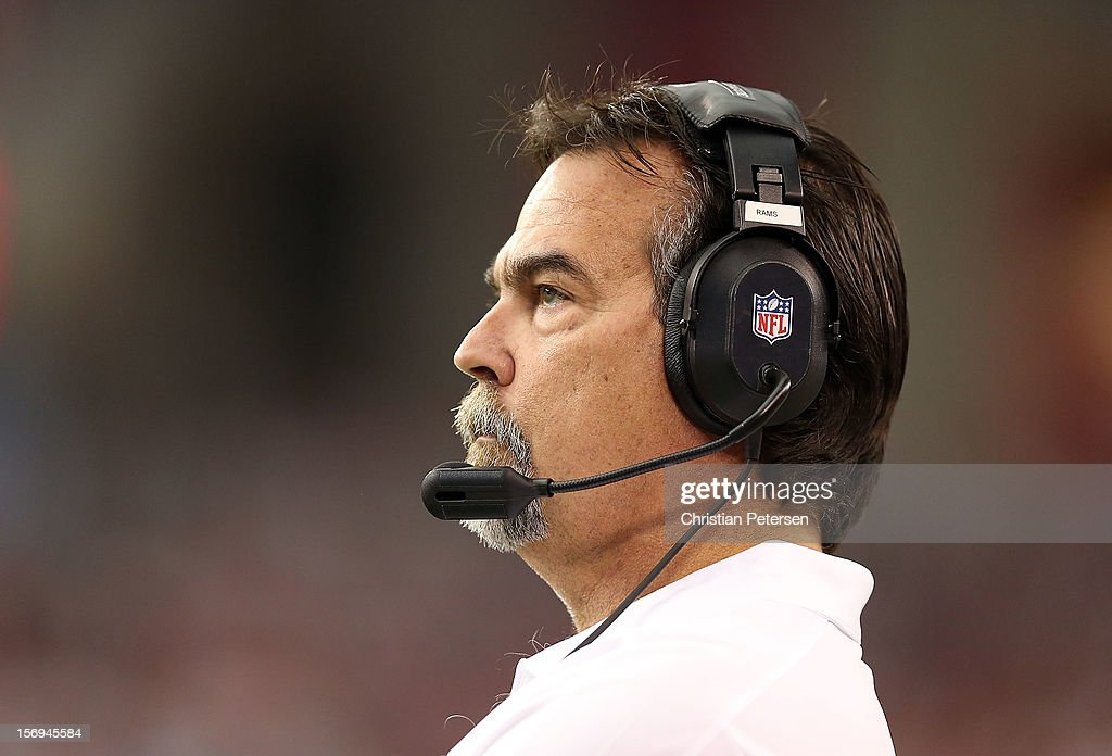 Head coach Jeff Fisher of the St. Louis Rams watches from the sidelines during the NFL game against the Arizona Cardinals at the University of Phoenix Stadium on November 25, 2012 in Glendale, Arizona.