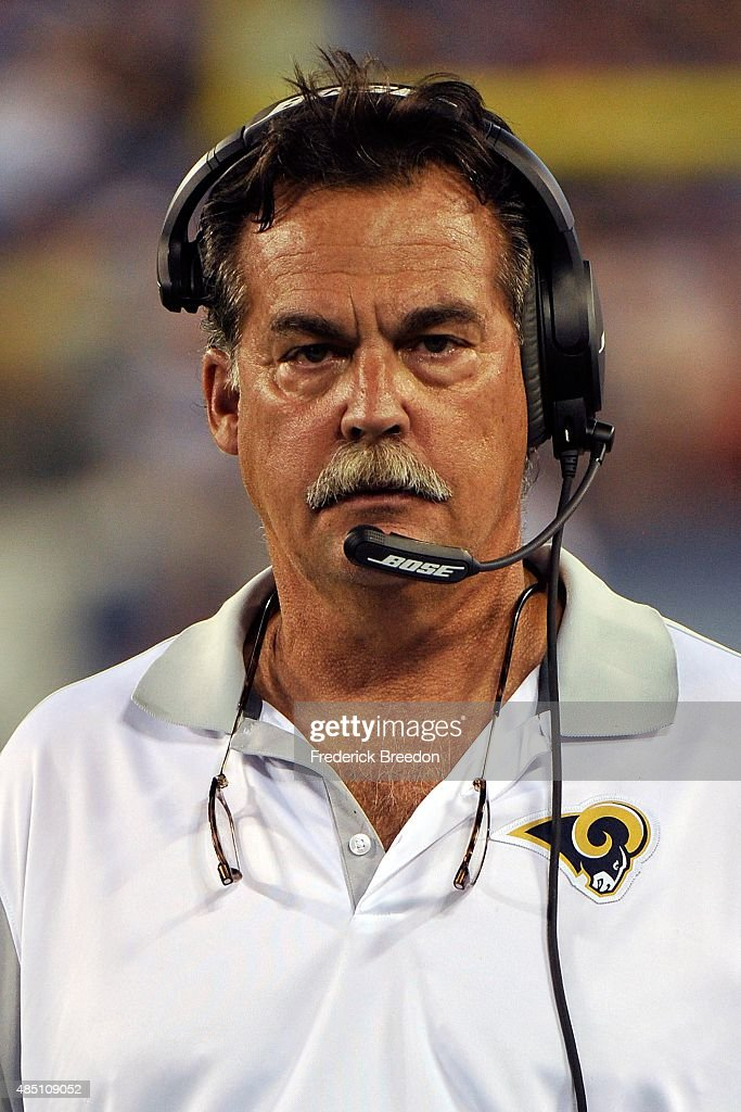 Head coach Jeff Fisher of the St. Louis Rams watches from the sideline during a pre-season game against the Tennessee Titans at Nissan Stadium on August 23, 2015 in Nashville, Tennessee.