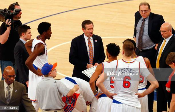 Head coach Jeff Hornacek of the New York Knicks in action against the Los Angeles Clippers at Madison Square Garden on February 8 2017 in New York...