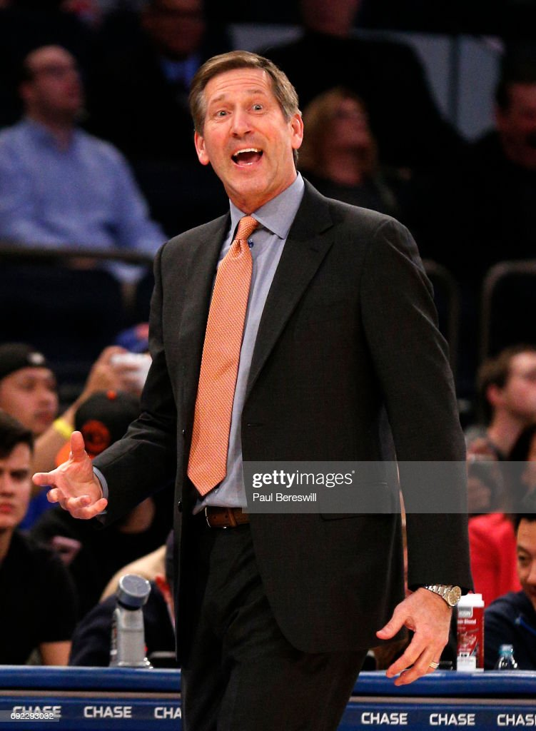 Head coach Jeff Hornacek of the New York Knicks reacts in an NBA basketball game against the Sacramento Kings on December 4, 2016 at Madison Square Garden in New York City. Knicks won 106-98.