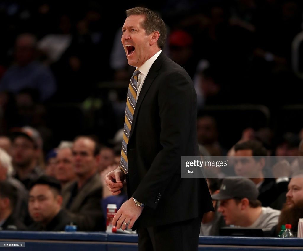 Head coach Jeff Hornacek of the New York Knicks reacts to a call against his team in the second half against the San Antonio Spurs at Madison Square Garden on February 12, 2017 in New York City.