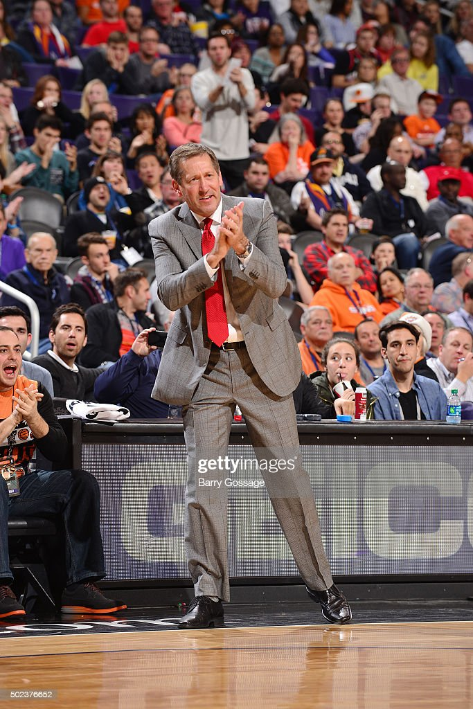 Head coach Jeff Hornacek of the Phoenix Suns celebrates during the game against the Denver Nuggets on December 23 2015 at Talking Stick Resort Arena...