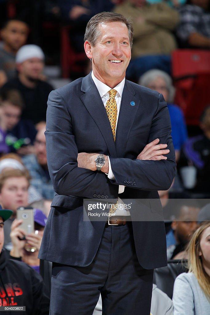 Head coach Jeff Hornacek of the Phoenix Suns coaches against the Sacramento Kings on January 2 2016 at Sleep Train Arena in Sacramento California...
