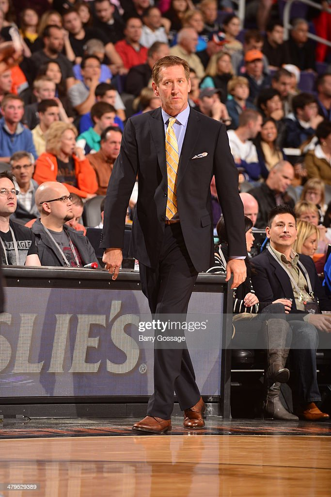 Head coach <a gi-track='captionPersonalityLinkClicked' href=/galleries/search?phrase=Jeff+Hornacek&family=editorial&specificpeople=213343 ng-click='$event.stopPropagation()'>Jeff Hornacek</a> of the Phoenix Suns coaches during the game against the Portland Trail Blazers on November 27, 2013 at U.S. Airways Center in Phoenix, Arizona.