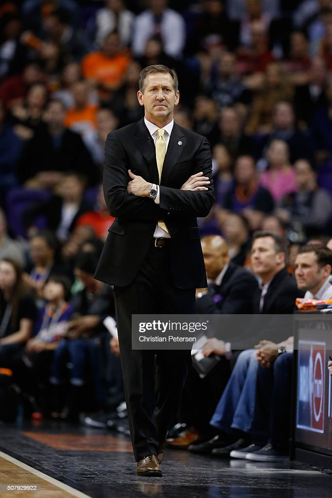 Head coach Jeff Hornacek of the Phoenix Suns during the first half of the NBA game against the San Antonio Spurs at Talking Stick Resort Arena on...