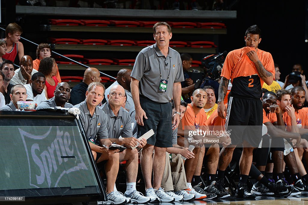 Head Coach <a gi-track='captionPersonalityLinkClicked' href=/galleries/search?phrase=Jeff+Hornacek&family=editorial&specificpeople=213343 ng-click='$event.stopPropagation()'>Jeff Hornacek</a> of the Phoenix Suns gives direction from the bench against the Golden State Warriors during NBA Summer League Championship Game on July 22, 2013 at the Cox Pavilion in Las Vegas, Nevada.