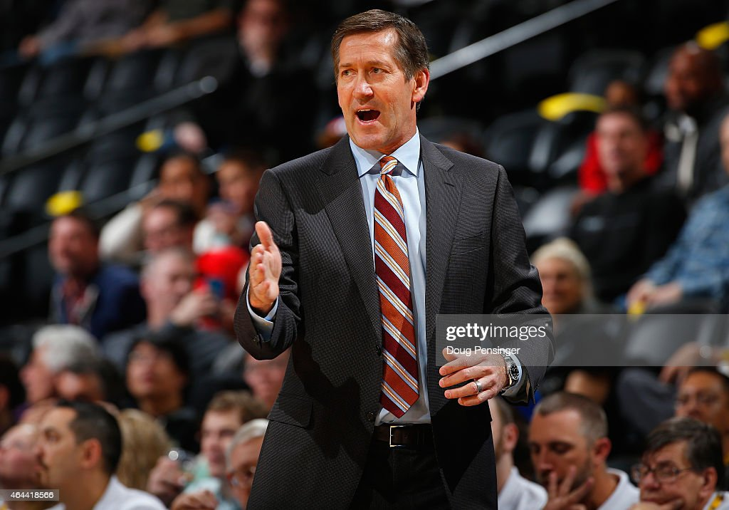 Head coach Jeff Hornacek of the Phoenix Suns leads his team against the Denver Nuggets at Pepsi Center on February 25 2015 in Denver Colorado NOTE TO...
