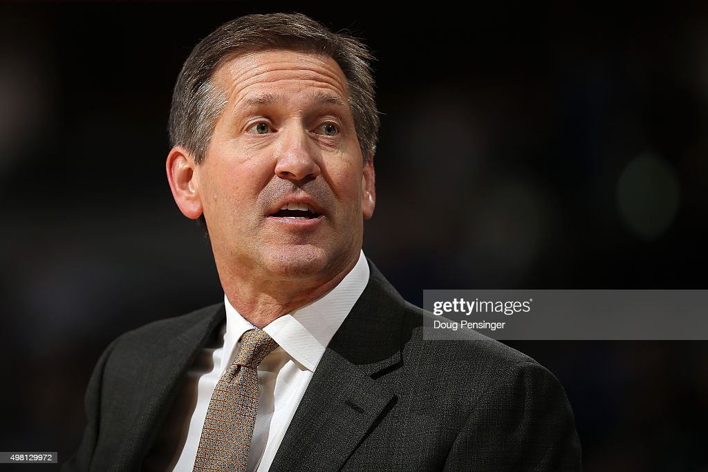 Head coach Jeff Hornacek of the Phoenix Suns leads his team against the Denver Nuggets at Pepsi Center on November 20 2015 in Denver Colorado The...