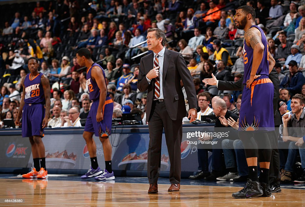 Head coach Jeff Hornacek of the Phoenix Suns protests a delay of game call and a technical foul as they face the Denver Nuggets at Pepsi Center on...