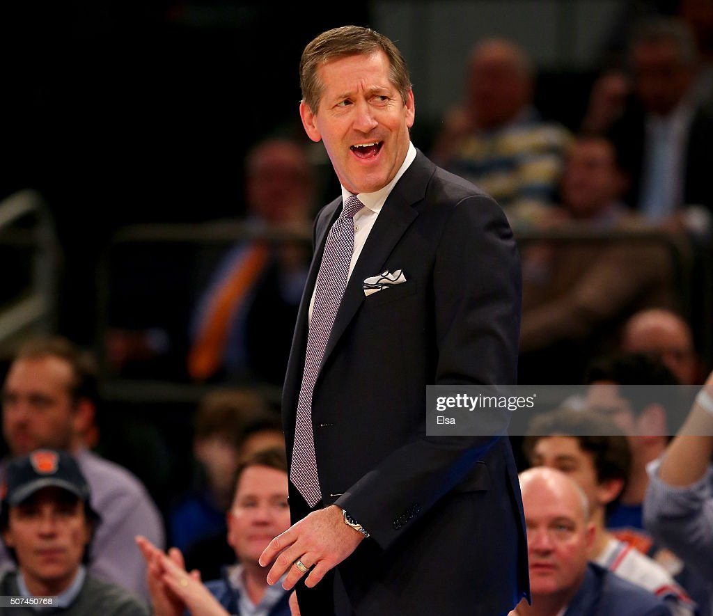 Head coach Jeff Hornacek of the Phoenix Suns reacts to a call in the first half against the New York Knicks at Madison Square Garden on January 29...