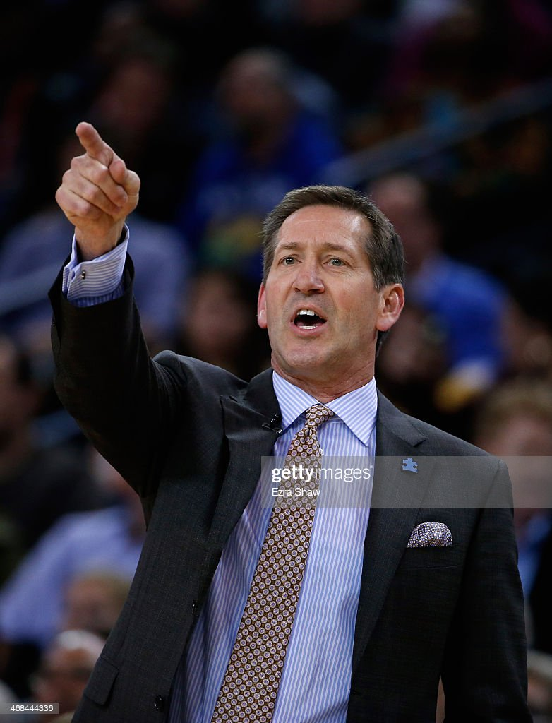 Head coach Jeff Hornacek of the Phoenix Suns shouts to his team during their game against the Golden State Warriors at ORACLE Arena on April 2 2015...
