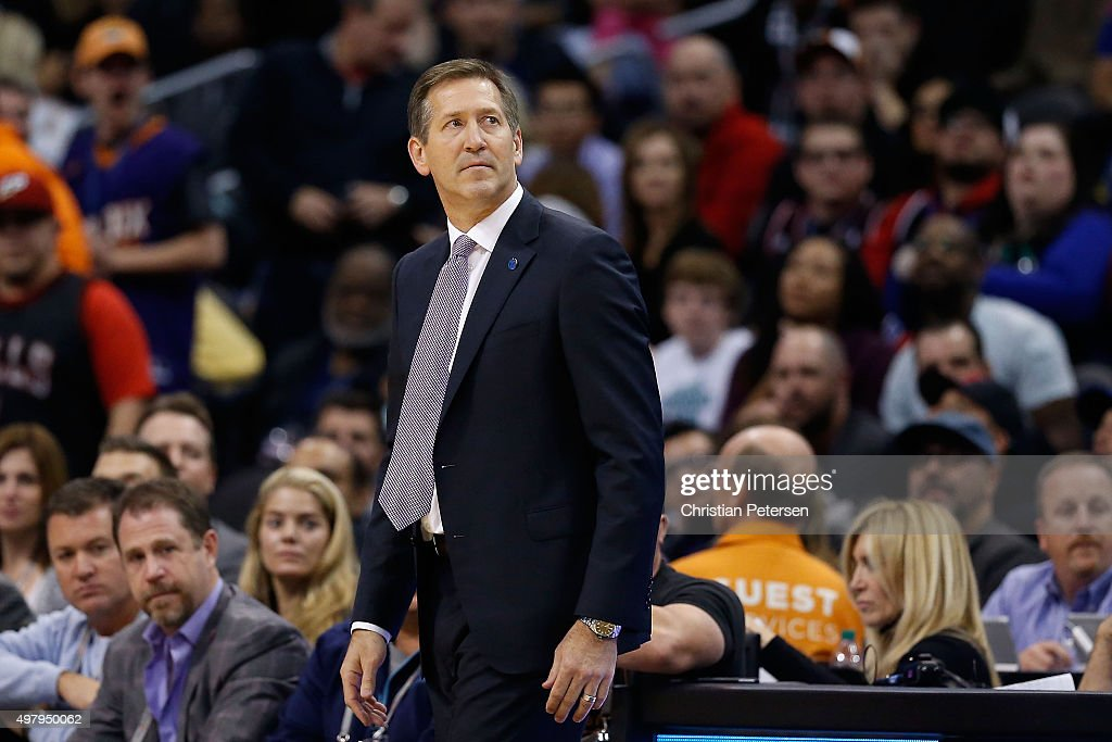 Head coach Jeff Hornacek of the Phoenix Suns stands on the bench during the second half of the NBA game against the Chicago Bulls at Talking Stick...