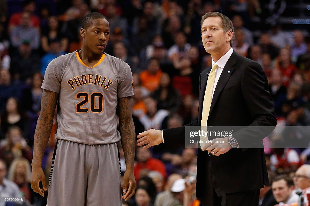 Head coach Jeff Hornacek of the Phoenix Suns talks with Archie Goodwin during the first half of the NBA game against the San Antonio Spurs at Talking...