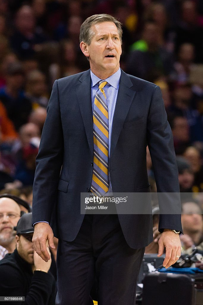 Head coach Jeff Hornacek of the Phoenix Suns watches his team during the first half against the Cleveland Cavaliers at Quicken Loans Arena on January...