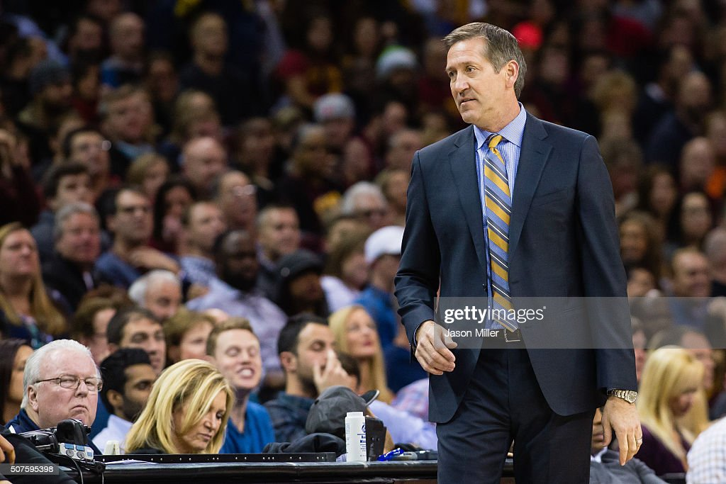Head coach Jeff Hornacek of the Phoenix Suns watches the game from the sidelines during the first half against the Cleveland Cavaliers at Quicken...