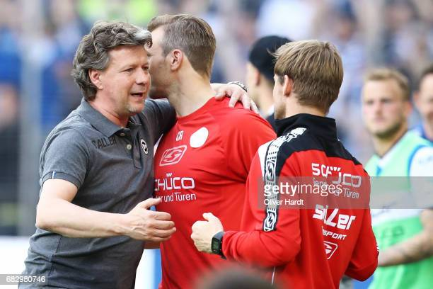 Head coach Jeff Saibene of Bielefeld celebrate after the Second Bundesliga match between DSC Arminia Bielefeld and Eintracht Braunschweig at Schueco...