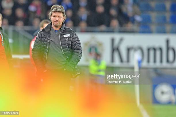 Head coach Jeff Saibene of Bielefeld looks dejected during the Second Bundesliga match between DSC Arminia Bielefeld and VfB Stuttgart at Schueco...