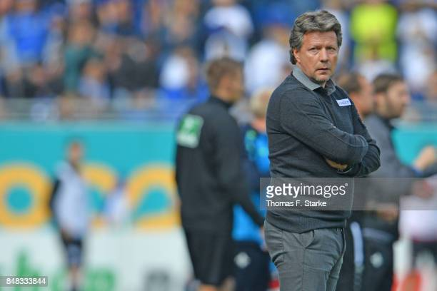 Head coach Jeff Saibene of Bielefeld looks dejected during the Second Bundesliga match between SV Darmstadt 98 and DSC Arminia Bielefeld at...