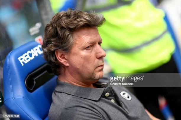 Head coach Jeff Saibene of Bielefeld looks on prior to the Second Bundesliga match between VfL Bochum 1848 and DSC Arminia Bielefeld at Vonovia...