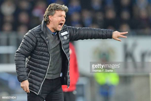Head coach Jeff Saibene of Bielefeld reacts during the Second Bundesliga match between DSC Arminia Bielefeld and VfB Stuttgart at Schueco Arena on...