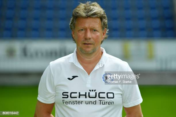 Head coach Jeff Saibene poses during the Second Bundesliga team presentation of Arminia Bielefeld at Schueco Arena on July 4 2017 in Bielefeld Germany