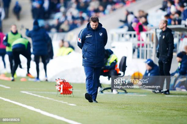 Head coach Jens Gustafsson of IFK Norrkoping during the Allsvenskan match between IFK Norrkoping and IF Sirius FK at Ostgotaporten on April 17 2017...
