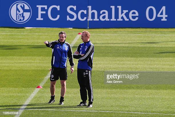 Head coach Jens Keller and assistant coach Seppo Eichkorn prepare a Schalke 04 training session at the ASPIRE Academy for Sports Excellenc on January...