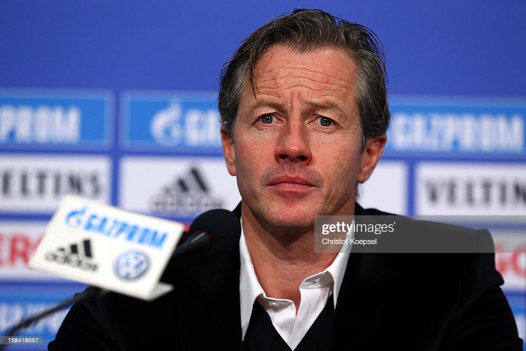 Head coach Jens Keller attends a FC Schalke 04 press conference at Veltins-Arena on December 16, 2012 in Gelsenkirchen, Germany.