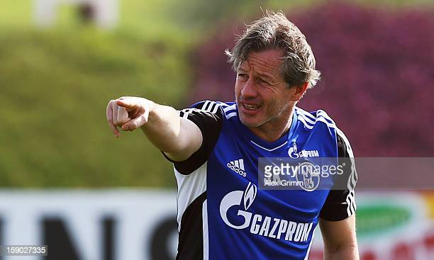 Head coach Jens Keller gestures during a Schalke 04 training session at the ASPIRE Academy for Sports Excellence on January 6 2013 in Doha Qatar