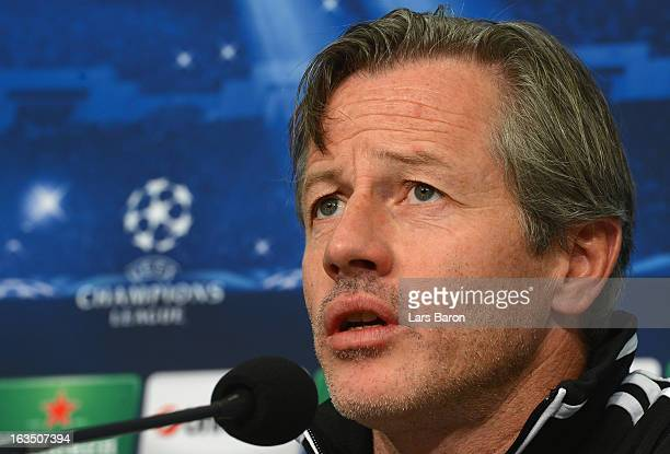 HEad coach Jens Keller is seen during a FC Schalke 04 press conference ahead of their UEFA Champions League round of 16 match against Galatasaray AS...