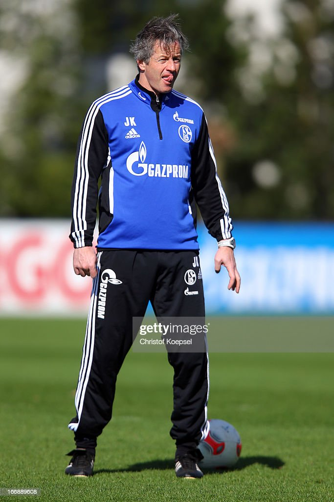 Head coach Jens Keller looks on during the FC Schalke 04 training session at their training ground on April 18, 2013 in Gelsenkirchen, Germany.