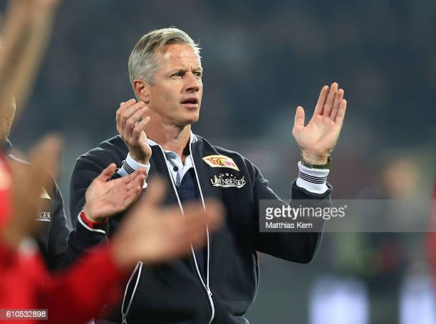 Head coach Jens Keller of Berlin shows his delight after winning the Second Bundesliga match between 1 FC Union Berlin and FC St Pauli at Stadion An...