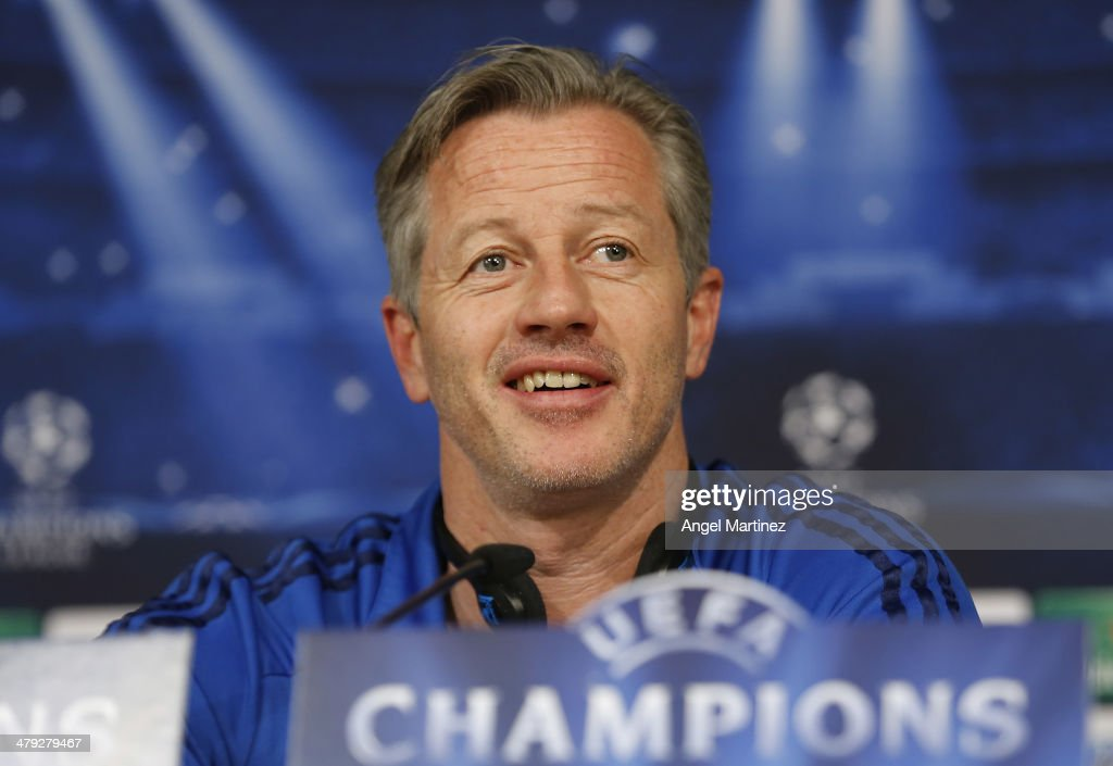 Head coach Jens Keller of FC Schalke 04 attends a press conference ahead of their UEFA Champions League Round of 16 second leg match against Real Madrid at Estadio Santiago Bernabeu on March 17, 2014 in Madrid, Spain.