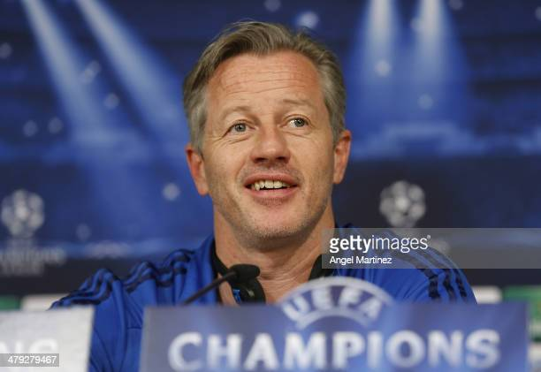 Head coach Jens Keller of FC Schalke 04 attends a press conference ahead of their UEFA Champions League Round of 16 second leg match against Real...