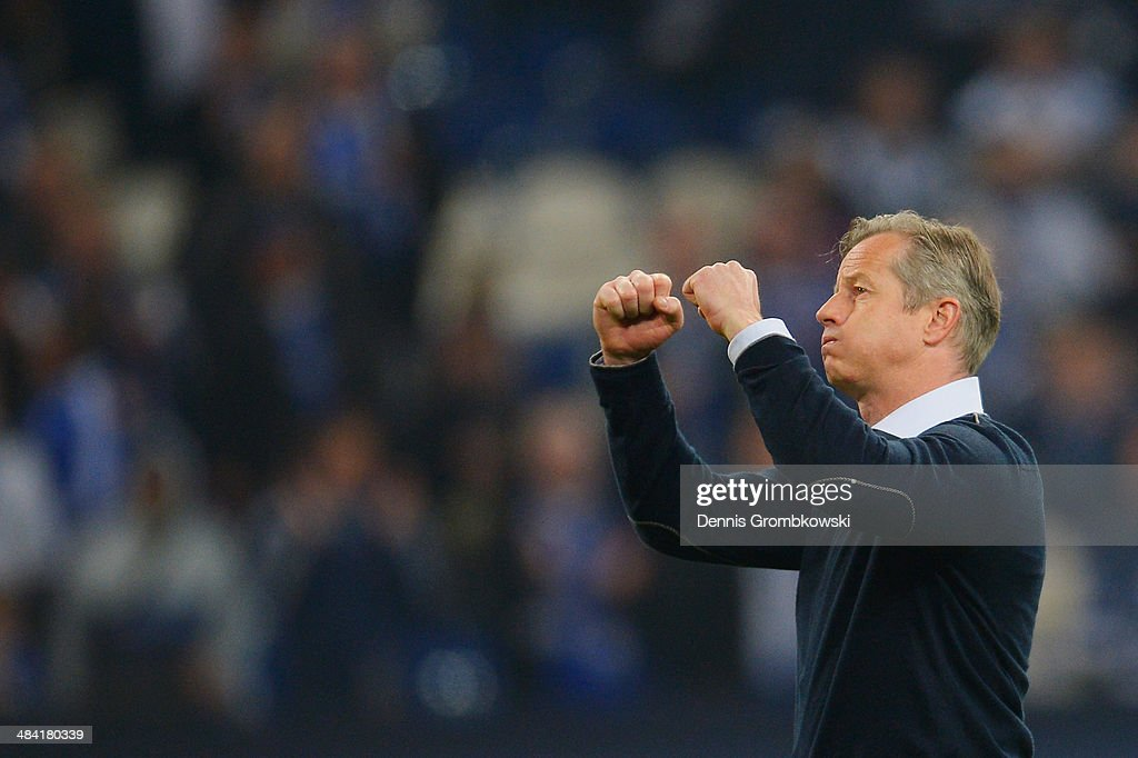 Head coach Jens Keller of FC Schalke 04 reacts after the Bundesliga match between FC Schalke 04 and Eintracht Frankfurt at Veltins-Arena on April 11, 2014 in Gelsenkirchen, Germany.