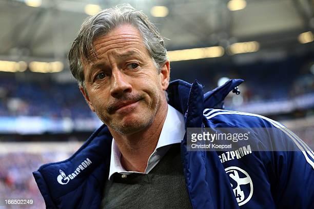 Head coach Jens Keller of Schalke looks on prior to the Bundesliga match between FC Schalke 04 and Bayer 04 Leverkussen at VeltinsArena on April 13...