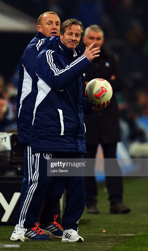 Head coach <a gi-track='captionPersonalityLinkClicked' href=/galleries/search?phrase=Jens+Keller&family=editorial&specificpeople=2382918 ng-click='$event.stopPropagation()'>Jens Keller</a> of Schalke reacts during the Bundesliga match between FC Schalke 04 and Hannover 96 at Veltins-Arena on January 18, 2013 in Gelsenkirchen, Germany.