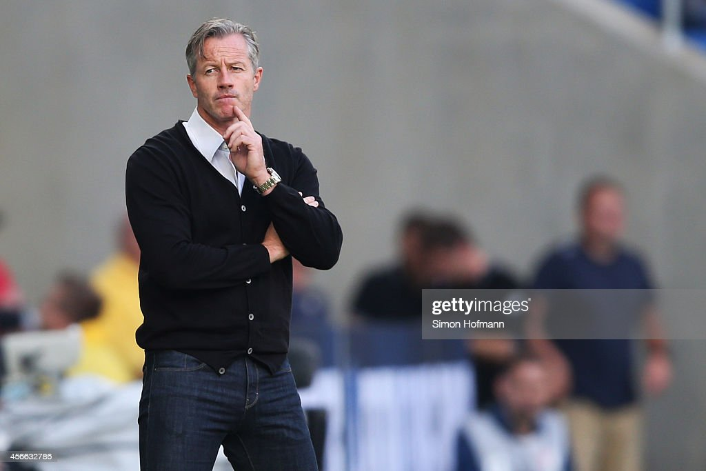 Head coach <a gi-track='captionPersonalityLinkClicked' href=/galleries/search?phrase=Jens+Keller&family=editorial&specificpeople=2382918 ng-click='$event.stopPropagation()'>Jens Keller</a> of Schalke reacts during the Bundesliga match between 1899 Hoffenheim and FC Schalke 04 at Wirsol Rhein-Neckar-Arena on October 4, 2014 in Sinsheim, Germany.
