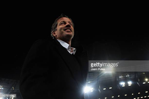 Head coach Jens Keller of Stuttgart looks on prior to the Bundesliga match between Hannover 96 and VfB Stuttgart at the AWD Arena on December 10 2010...