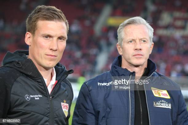 Head coach Jens Keller of Union Berlin and Head coach Hannes Wolf of Stuttgart looks on during the Second Bundesliga match between VfB Stuttgart and...