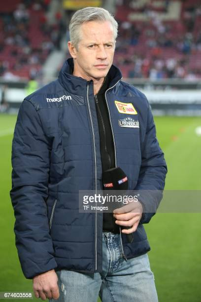 Head coach Jens Keller of Union Berlin looks on during the Second Bundesliga match between VfB Stuttgart and 1 FC Union Berlin at MercedesBenz Arena...