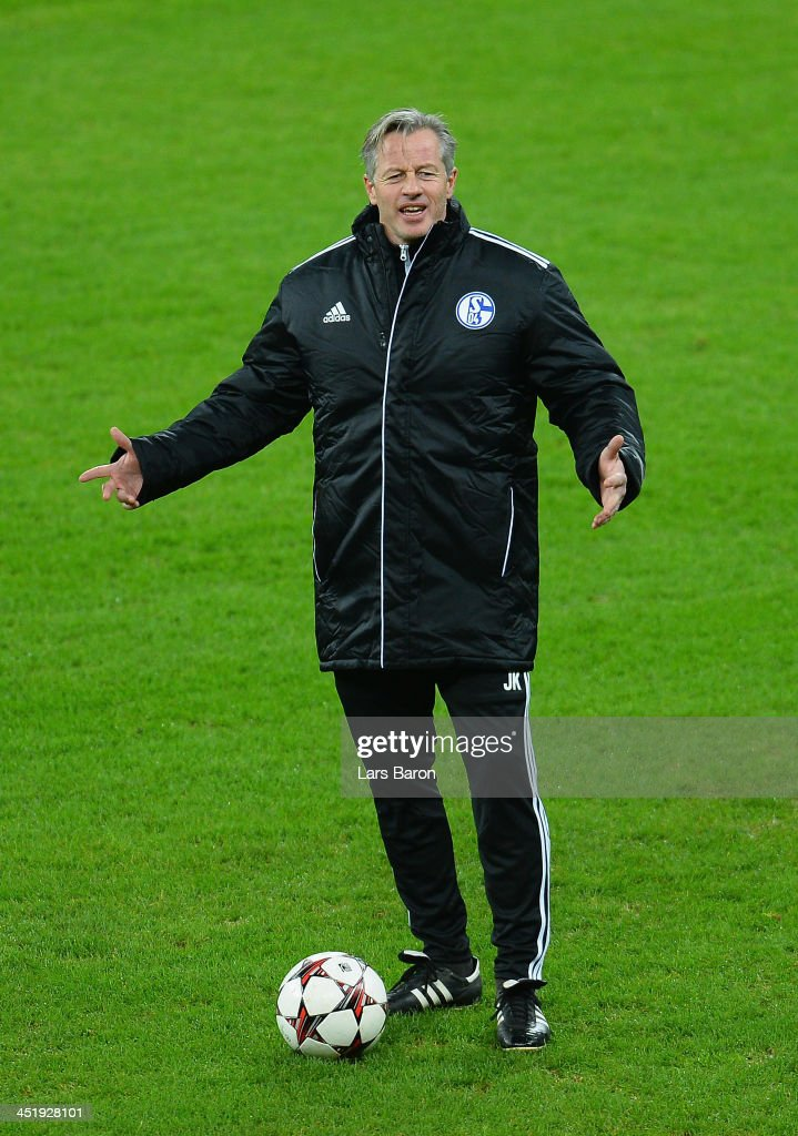 Head coach <a gi-track='captionPersonalityLinkClicked' href=/galleries/search?phrase=Jens+Keller&family=editorial&specificpeople=2382918 ng-click='$event.stopPropagation()'>Jens Keller</a> reacts during a FC Schalke 04 training session prior to their UEFA Champions League Group E match against FC Steaua Bucuresti at National Stadium on November 25, 2013 in Bucharest, Romania.