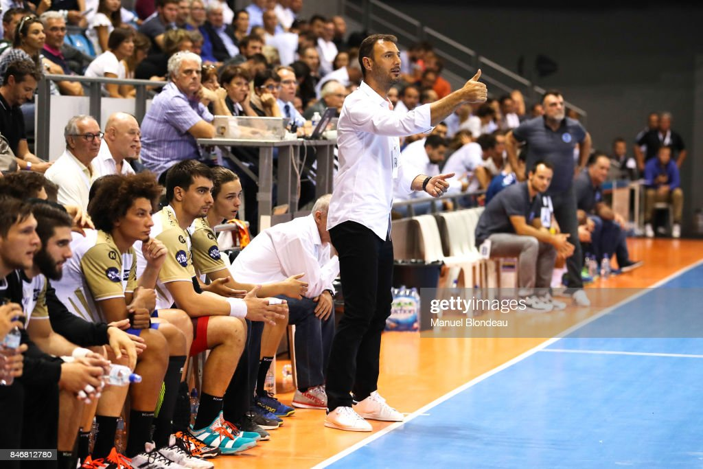 Head coach Jerome Fernandez of Aix during Lidl Star Ligue match between Fenix Toulouse and Pays D'aix Universite Club on September 13, 2017 in Toulouse, France.