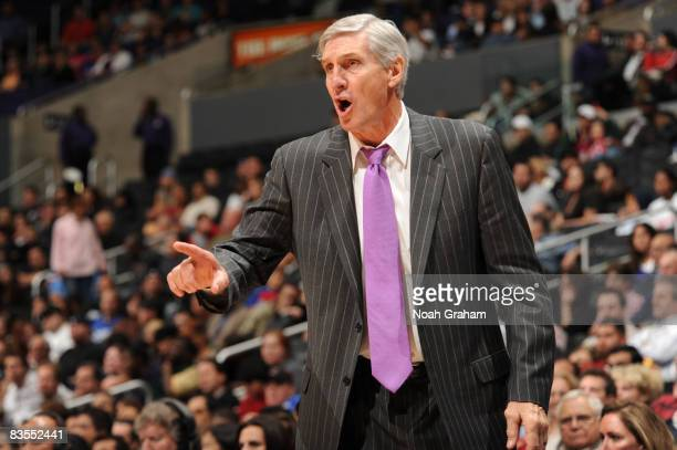 Head Coach Jerry Sloan of the Utah Jazz directs his team against the Los Angeles Clippers at Staples Center on November 3 2008 in Los Angeles...
