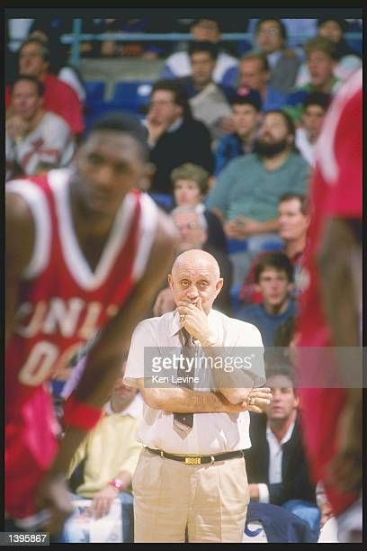 Head coach Jerry Tarkanian of the UNLV Rebels watches his team in action Mandatory Credit Ken Levine /Allsport