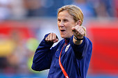 Head coach Jill Ellis of the United States watches her team warm up before taking on Sweden in the FIFA Women's World Cup Canada 2015 match at...