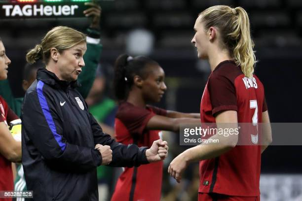 Head coach Jill Ellis talks with Samantha Mewis of the USA during the game against the Korea Republic at the MercedesBenz Superdome on October 19...