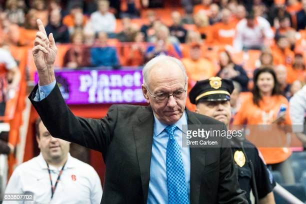 Head coach Jim Boeheim of the Syracuse Orange acknowledges the cheering crowd before the game against the Virginia Cavaliers on February 4 2017 at...